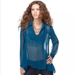 Free People Sheer Pintuck Blouse Pullover Teal XS